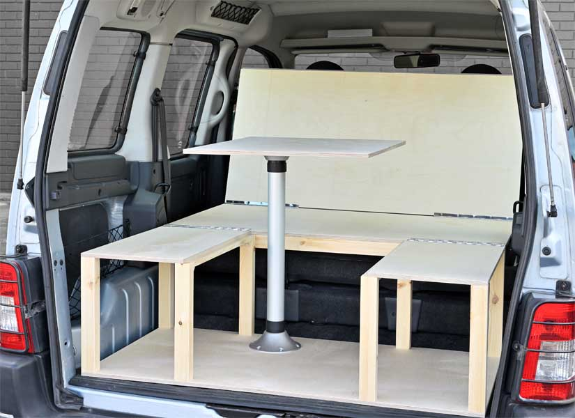 The Simple camper van conversion in seating mode.