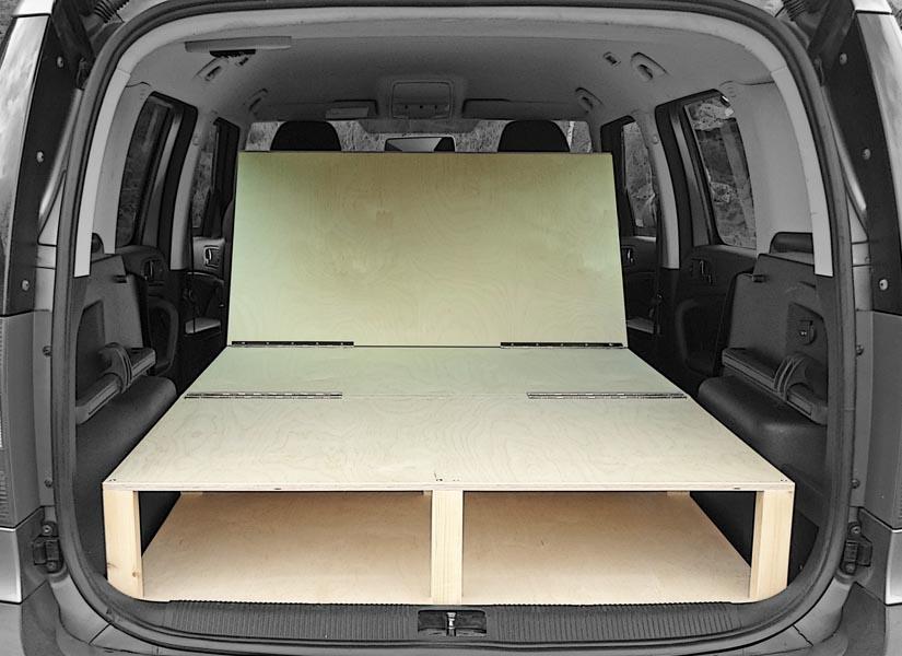 The Skoda Yeti camper van conversion in seating mode.