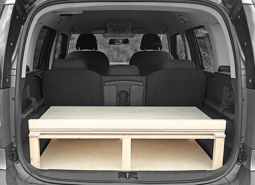 The Skoda Yeti camper van conversion in storage mode.